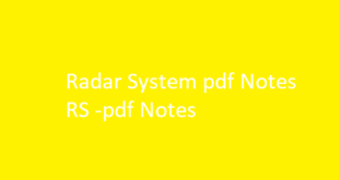 Radar System pdf Notes RS | RS pdf Notes