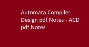 Automata Compiler Design Notes