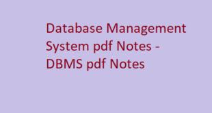 Database Management System pdf Notes | DBMS pdf Notes