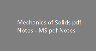 Mechanics of Solids pdf Notes | MS pdf Notes