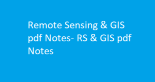 Remote Sensing & GIS pdf Notes