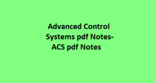 Advanced Control Systems pdf Notes
