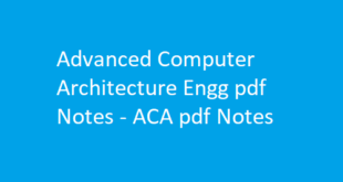 Advanced Computer Architecture Engg pdf Notes