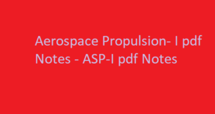 Aerospace Propulsion- I pdf Notes