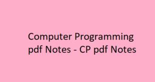 Computer Programming pdf Notes