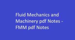 Fluid Mechanics and Machinery Notes pdf